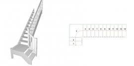 L-trepp platvormiga