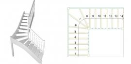 L-trepp pöördastmed keskel